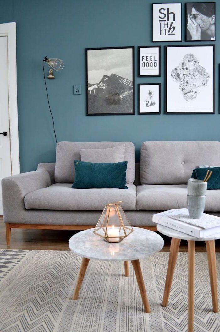 Murs De Salon Bleu Canard Clair Couleurs Pour Salon Cosy Canape
