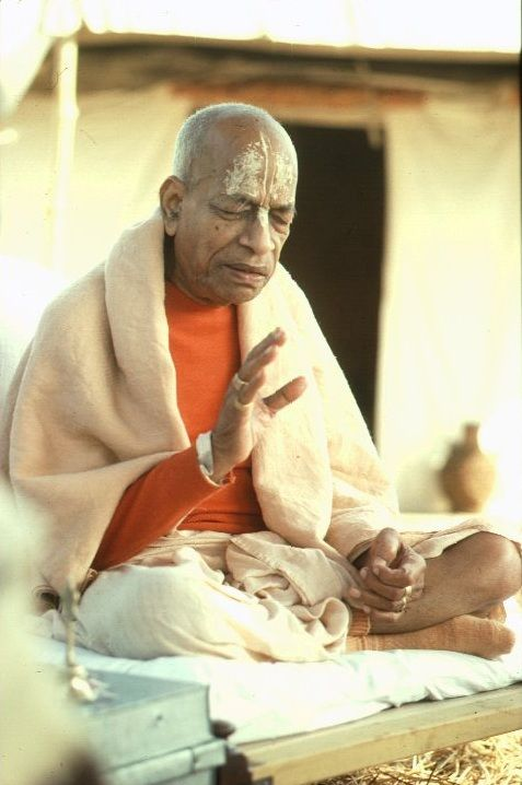 "A.C. Bhaktivedanta Swami Prabhupada.  Love the rasa-filled expression on his face.  ‎""The transcendental qualities are conducive to liberation, whereas the demonic qualities make for bondage.""  (in Bhagavad-gita As It Is)"