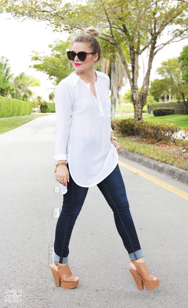 Cuffed denim, wedges, and tunic top