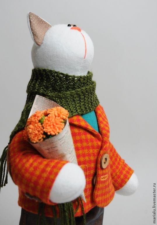 Teddy Tom Cat / Весна.Кот.Праздник. - оранжевый, кот, кот с букетом, игрушка кот, кот тильда