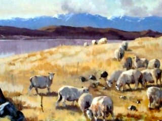 Original Painting By Aston Greathead , he died this week at the age of 92 , this painting is in the high country New Zealand , South Island.