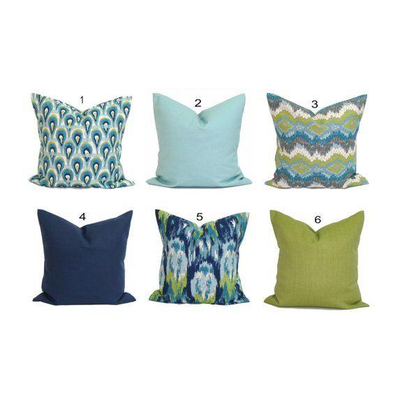 Blue Throw Pillows Blue Pillow Cover Green Throw Pillows Green