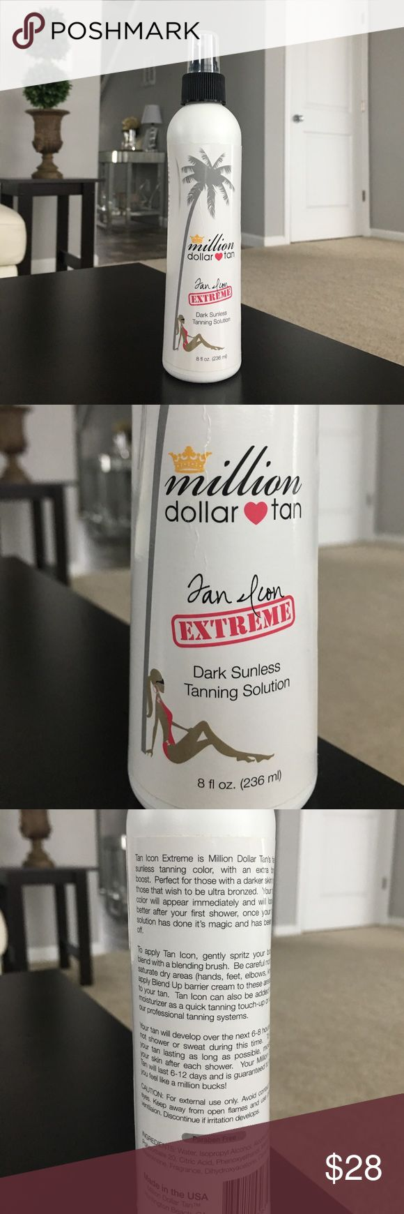 ✨Million Dollar Tan Cabana Tan Extreme 8oz!✨ This is a new 8oz bottle of million dollar tan's cabana tan extreme dark sunless tanning lotion. It retails for $38 plus tax online. I received this in the mail and as you can see, the bottle was a bit damaged. Other than that, it's good. This stuff is perfect for a beautiful natural golden tan. I have used this stuff for the past couple years and it's my favorite, but I reach for my lotions more now, just personal preference. Works great, amazing…