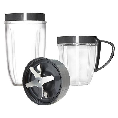 NutriBullet 600 Deluxe Upgrade Kit: This kit includes 1 Extractor Blade, 1 Tall Cup (24oz), 1 Short Cup (18oz), 1 Handed Lip Ring and 1 Regular Lip Ring.