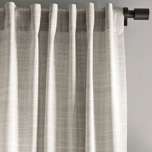 Would need to see this up close / in person to decide if I like it... #drapes Cotton Canvas Printed Crosshatch Window Panel | west elm - Detailed View