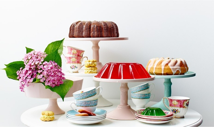 Cake stands, tea cups and saucers, mint cake stand, pink cake stands, beautiful compote all available from The Little Big Company