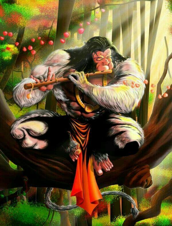 Hanuman playing the flute
