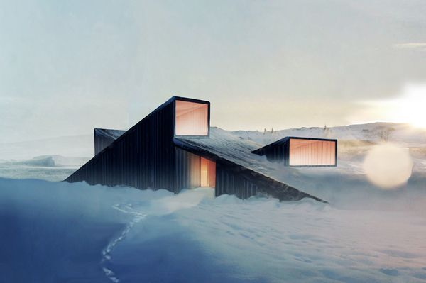 Fantastic Norway Architects have designed this mountain lodge to resemble an abstract mountain-scape.    The cabin acts as a landscape element that directs wind and snow around and over the building. The clients asked for a design that would allow them to literally ski, sledge ride, and picnic on top of the cabin.