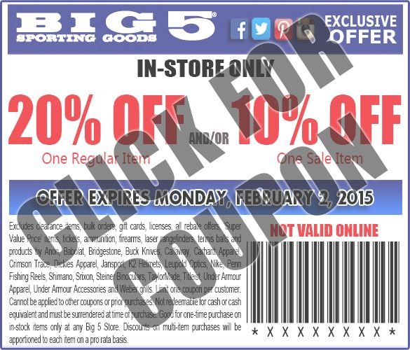 In Store ONLY Twenty Percent Off one regular priced items and/or ten percent off one sale priced items - Coupon Expires: 2-2-2015 - Excludes clearance items, bulk orders, gift cards, licenses, all rebate offers, 'Super Value Price' items, tickets, ammunition, firearms, laser rangefinders, tennis balls and products by Anon, Babolat, Bridgestone, Buck Knives, Callaway, Carhartt Apparel, Crimson Trace, Dickies Apparel, Jansport, K2 Helmets, Leupold Optics, Nike, Penn Fishing Reels, Shimano, ...
