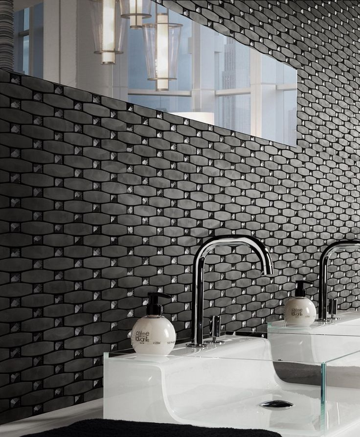 The Bling tile mosaic in charcoal. Perfect feature wall tiles.