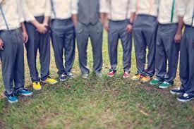 rainbow wedding groomsmen