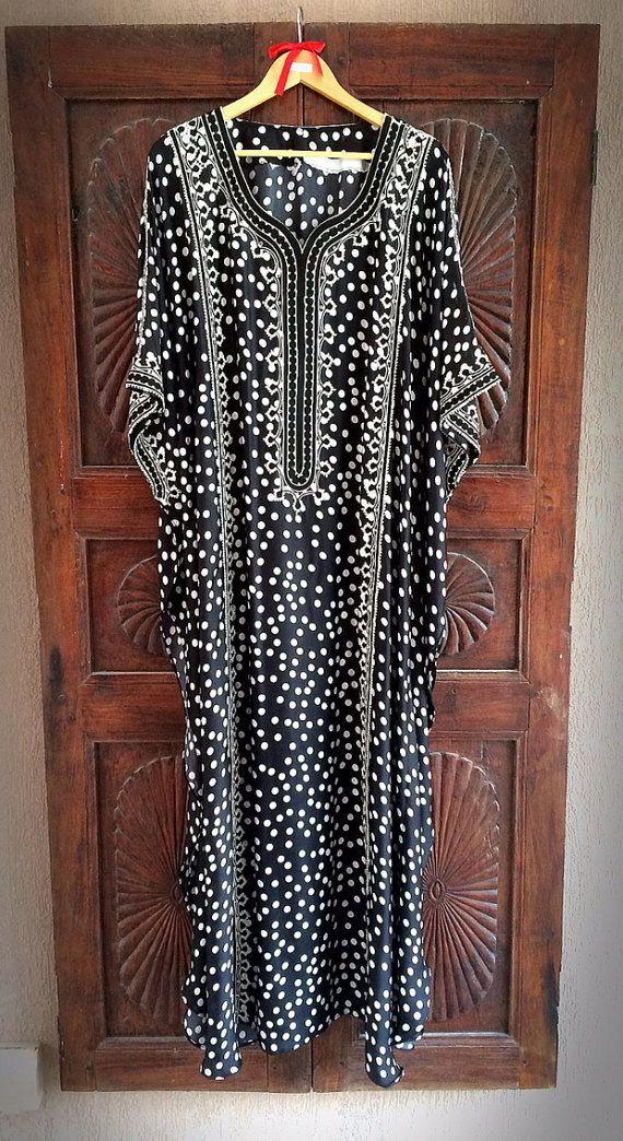 Silk polka dot caftan summer maxi dress by ArabianThreads on Etsy, $180.00