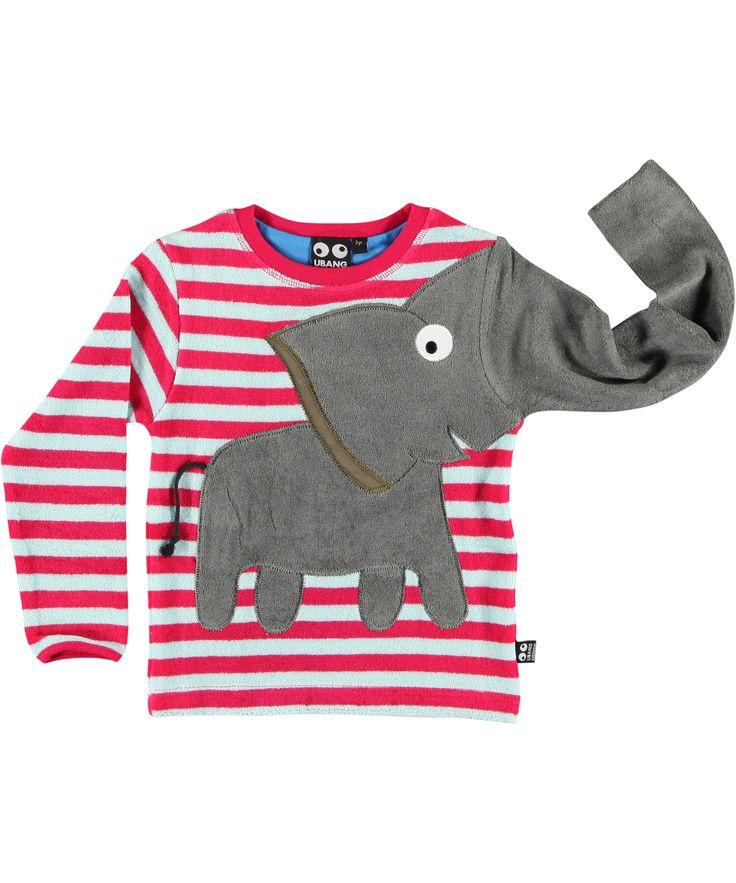 Ubang leuke olifant t-shirt met roze en lichtblauwe strepen. ubang-babblechat.nl.emilea.be