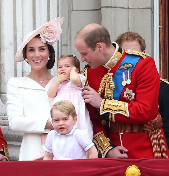 Catherine Duchess of Cambridge Princess Charlotte of Cambridge Prince George of Cambridge and Prince William Duke of Cambridge attend the Trooping...