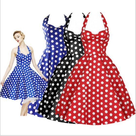 Summer Style Retro Audrey Hepburn Vestidos Woman Vintage Dress Big Swing Polka Dot Backless Rockabilly…