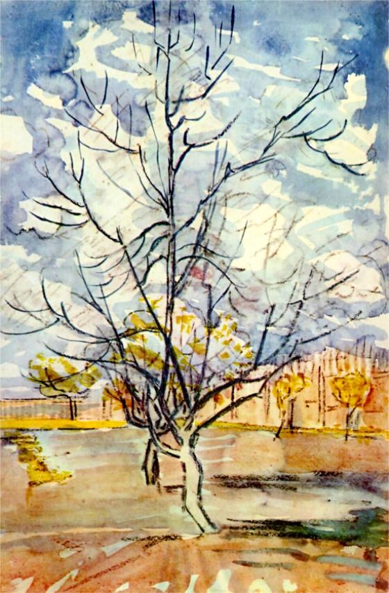 ☼ Painterly Landscape Escape ☼ landscape painting by Vincent Van Gogh | Pink Peach Trees, 1888
