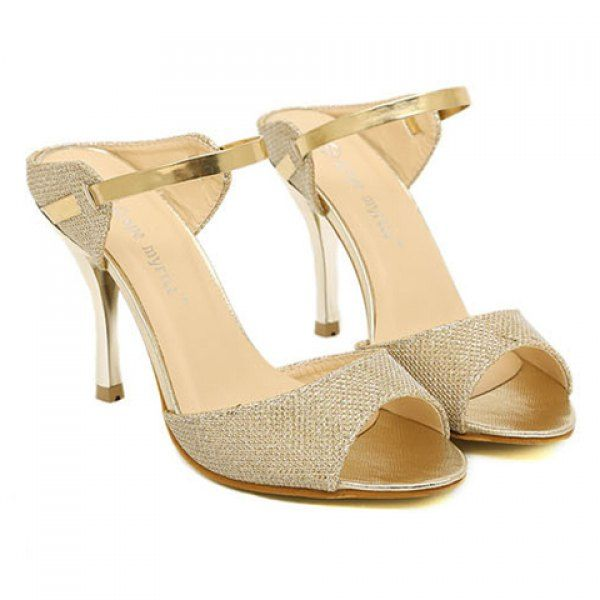 Fashion Style Sequins Design Women's Stiletto Heel Slippers, GOLD, 38 in Slippers | DressLily.com