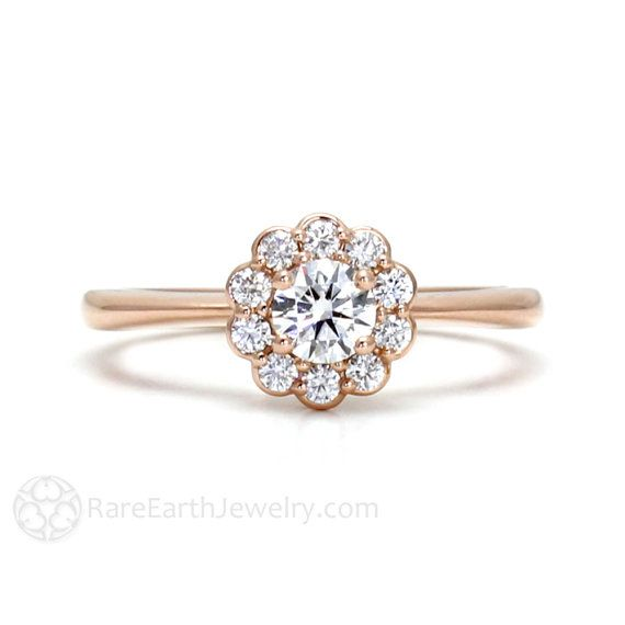 Rose Gold Diamond Engagement Ring Halo Cluster 14K by RareEarth