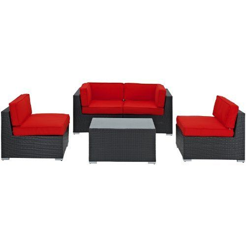 East End Imports Camfora Outdoor Rattan 5 Piece Set in Espresso with Red Cushions by East End Imports. $2761.14. • All Weather Synthetic Rattan Weave • Powder Coated Aluminum Frame • Water & UV Resistant • Machine Washable Cushion Covers • Easy To Clean Tempered Glass Top • Ships Pre-Assembled • Item Ships in 2 - 3 Weeks. Simple and serviceable, the Camfora is a great choice for any backyard. Classically styled furniture crafted out of all weather mate...