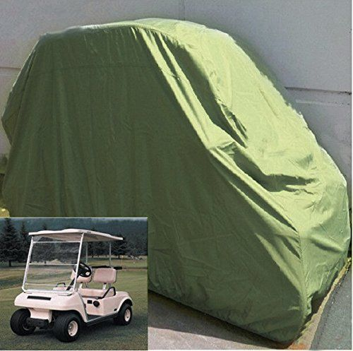 Golf Cart Cover, Enk Heavy Duty 108 Inches Waterproof 4 Passengers Long Roof Golf Cart Cover, Large Size Golf Cart Cover for EZ GO Club Car YAMAHA Golf Carts (Taupe)