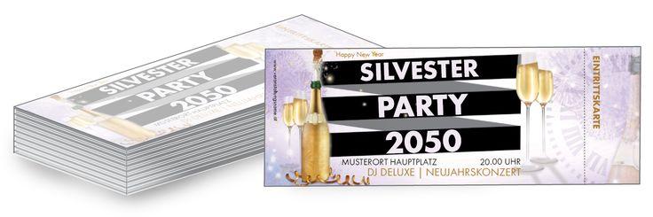 Silvester Party Eintrittskarten in verschiedenen Farben können Sie jetzt gratis rund um die Uhr kostenlos online personalisieren und günstig online bestellen. #silvester #party #silvesterparty #feuerwerk #sekt #champagner