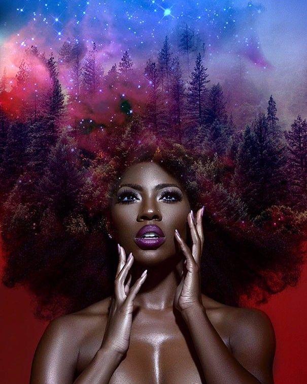 Amerykański grafik obraca fryzury czarnoskórych kobiet w galaktyczno-kwiatowe dzieła sztuki.
