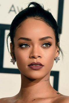 Flawless wine lip on Rihanna