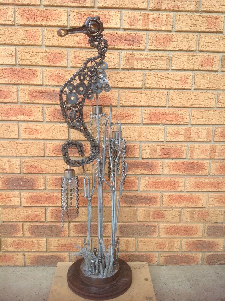 Recycled metal seahorse - made by Fiona verhagen