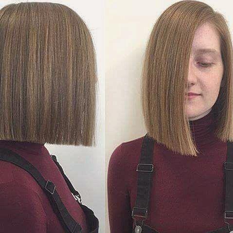 #onelengthbob #bob #haircut #darkblonde #bobhaircut #blonde #lob #longbob #hairs…