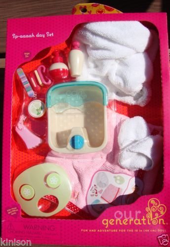 "Our Generation 18"" Doll Spa Day Set Towel Wrap Slippers Nail American Girl ~ NEW"