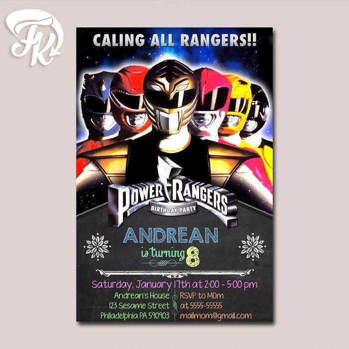 Power Rangers Mighty Morphin Birthday Party Card Digital Invitation Kid Birthday…