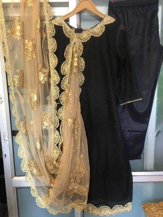 c3c9cb71e86825 Black Salwar Kameez Suit Golden Embroidered Net Dupatta Indian Ethnic  Designer Party Wear Stitched D