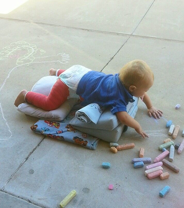 Spica cast play ideas- little man was so happy to get some outdoors time, this position seemed to work best for the most comfort.