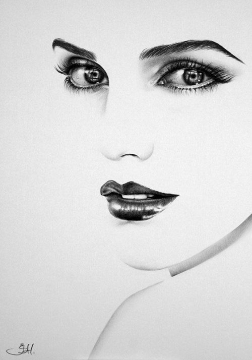 Emma Watson Pencil Drawing Minimalism Fine Art Portrait  Print Hand Signed by Ileana Hunter
