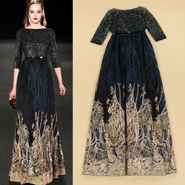 2015 Europe Style Autumn Winter Designer Boutique Dress Women's Vintage Classical Sequines Embroidery Luxury Long Maxi Dress