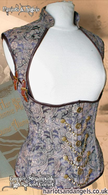 Curvy tailored Tight lacing Corset sewing PDF Download pattern. Steampunk, gothic, fetish. Under bust style with standing collar. Full back