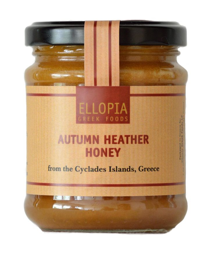 Autumn Heather Honey from the Greek islands. A unique early winter honey, it has a buttery texture and a deep, nutty and peppery flavour.