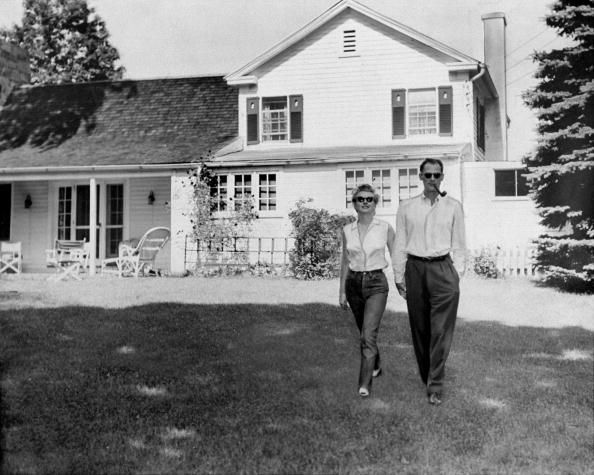Marilyn and Arthur Miller announcing their engagement at Roxbury