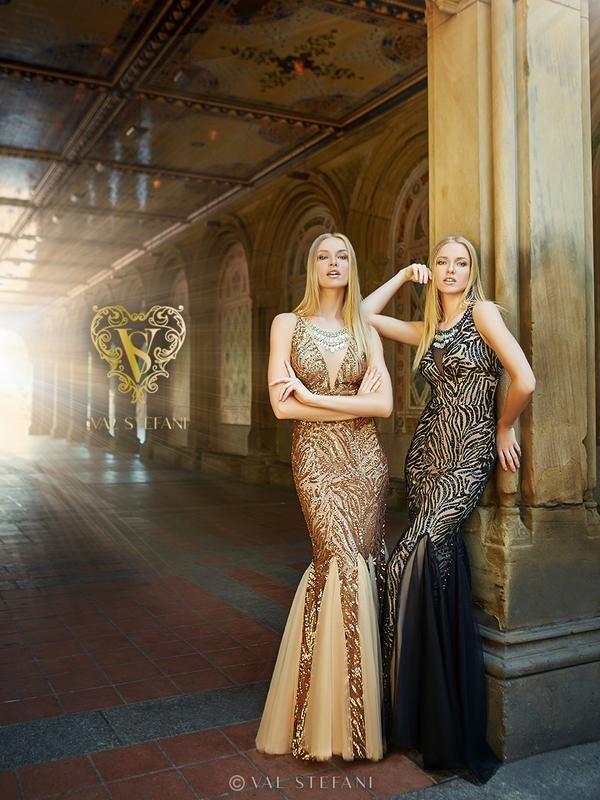 Val Stefani Prom 3059RN bold sequins zebra print prom dress with net godets