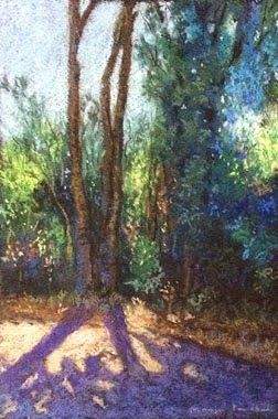 Soft pastel painting of a landscape as seen at Karnala Bird Sanctuary. Painting created on Fabriano Tiziano paper by Manju Panchal