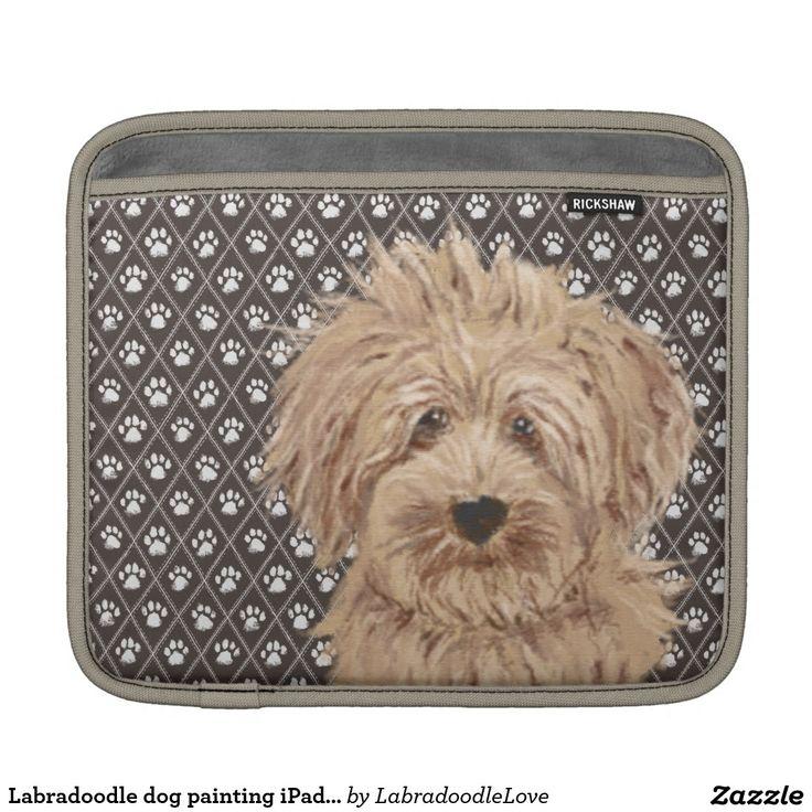Labradoodle dog painting iPad pad horizontal Sleeve For iPads
