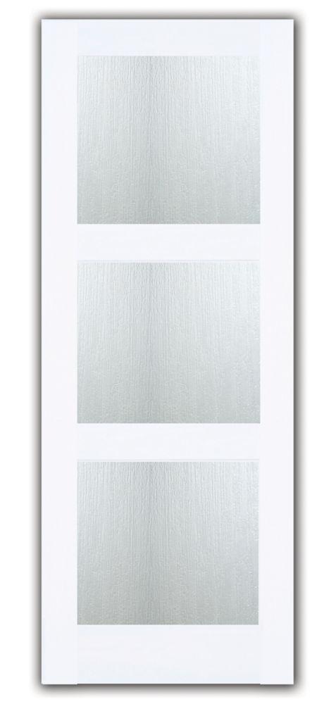 30x80 Porte de style Zen avec 3 verres intimité Aqui de la collection Joel Berman en Apprêt blanc