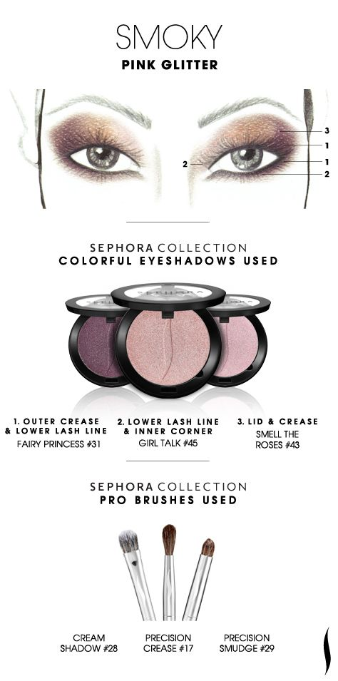 SMOKY: Pink Glitter HOW TO. #sephoracollection #sephora #eyeshadow