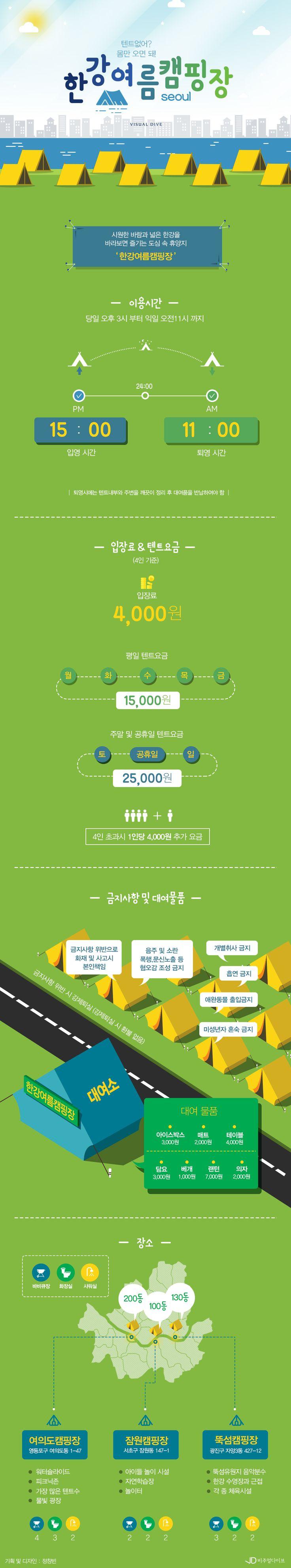 """""""텐트 없어? 몸만 오면 돼!"""" 한강 여름 캠핑장 [인포그래픽] #camping / #Infographic ⓒ 비주얼다이브 무단 복사·전재·재배포 금지"""