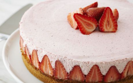 Frasier Torte Recipe by Anna Olson. Strawberries, strawberry mousse, lemon sponge