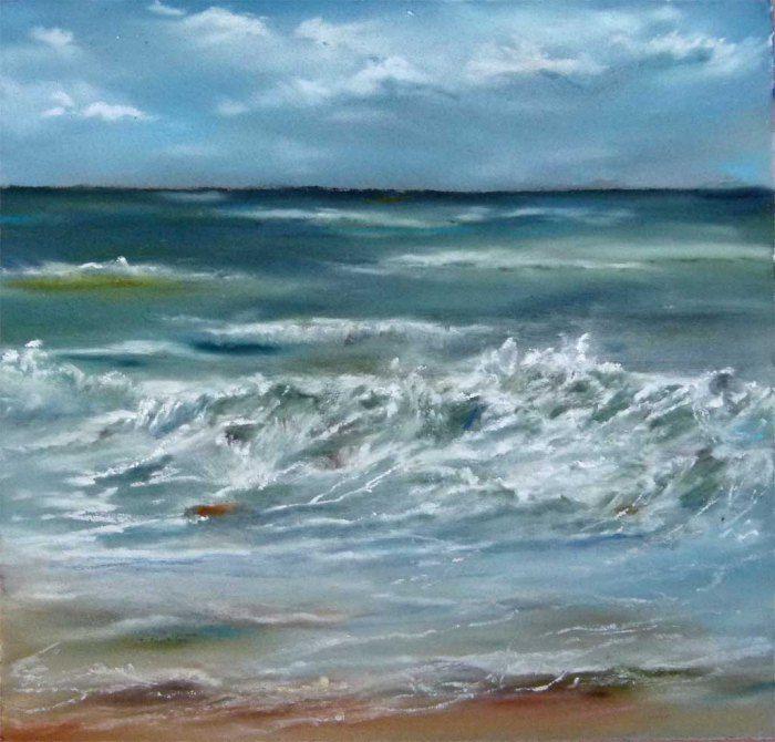 Unsere verkauften Bilder 2012 | Gischt am Strand (c) Pastell von Hanka Koebsch #Pastell #pastel #ostsee #baltic