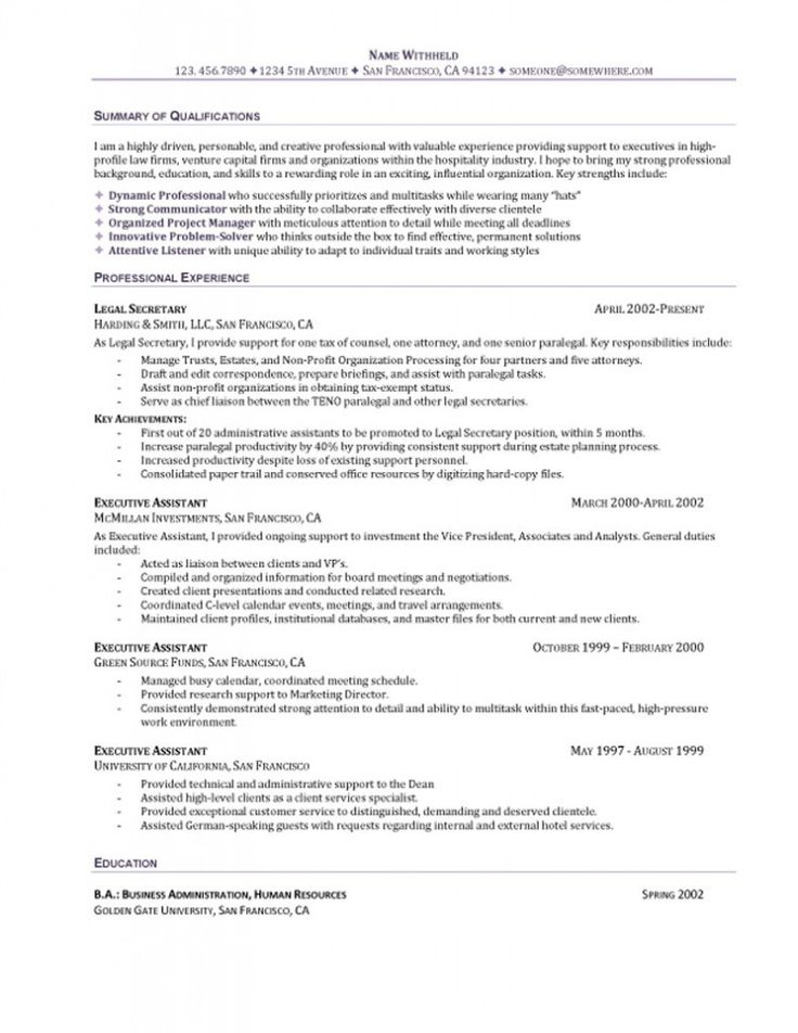 143 best Resume Samples images on Pinterest Resume examples - sample resume for executive secretary