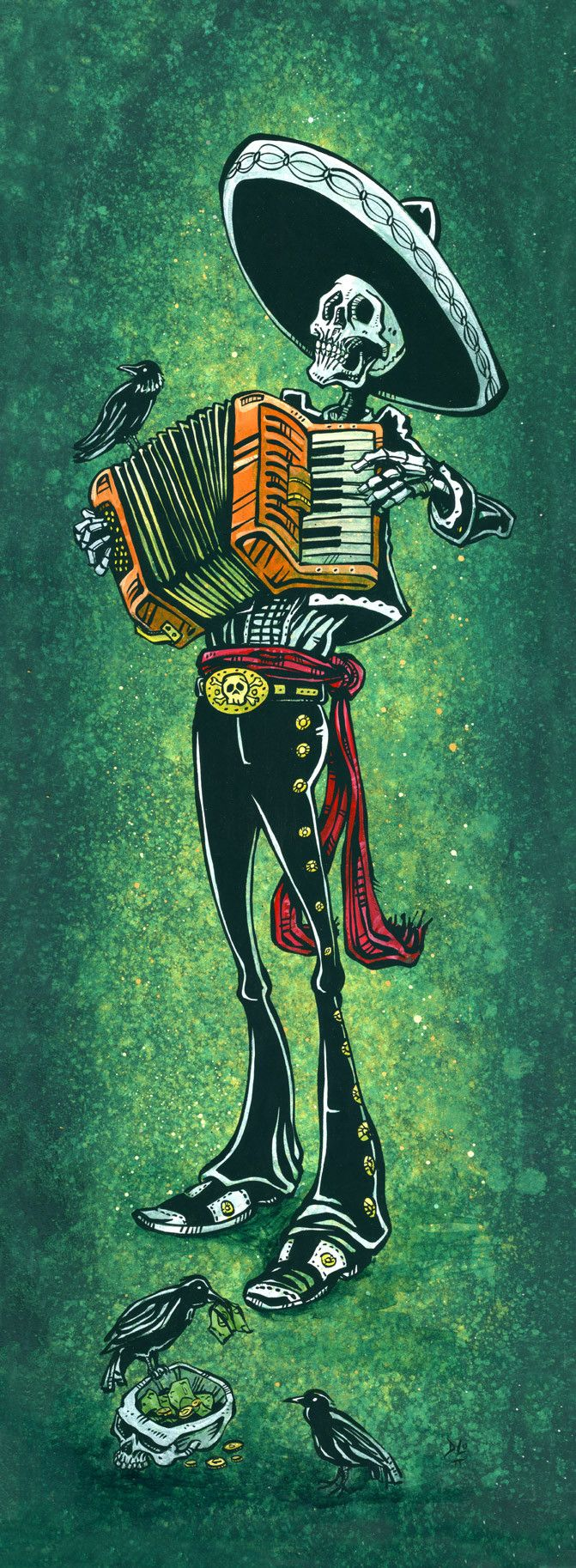 Day of the Dead Artist David Lozeau. Serenata para los muertos ambientada por cuervos