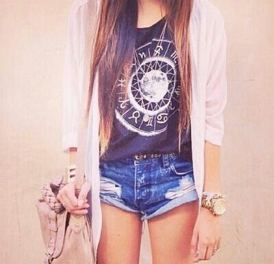 Graphic tee, shorts, and long cardigan
