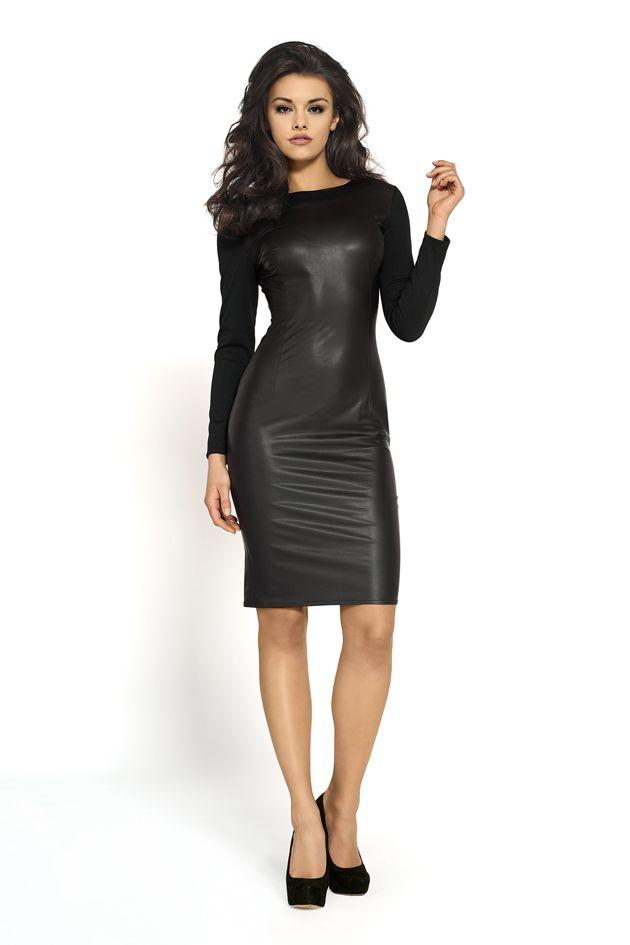 Czarna sukienka ze skóry z zamkiem Km104, Czarna sukienka ze skóry z zamkiem Km104 online, Czarna sukienka ze skóry z zamkiem Km104 online, produkt Czarna sukienka ze skóry z zamkiem Km104, Sukienki, sklep internetowy Czarna sukienka ze skóry z zamkiem Km